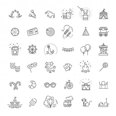 Amusement park sings set. Thin line art icons. Linear style illustrations isolated on white