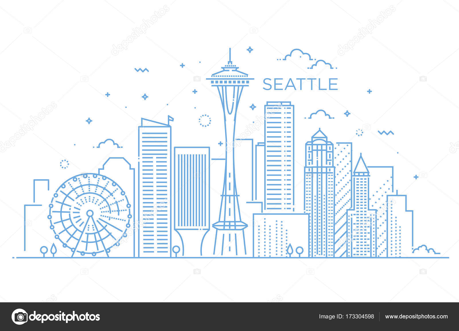 Line Art City : Banner of seattle city in flat line trendy style