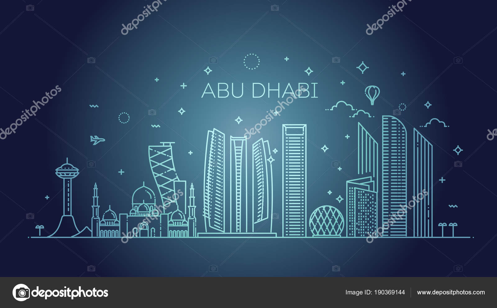 Famous Line Art : Abu dhabi city line art vector illustration with all famous
