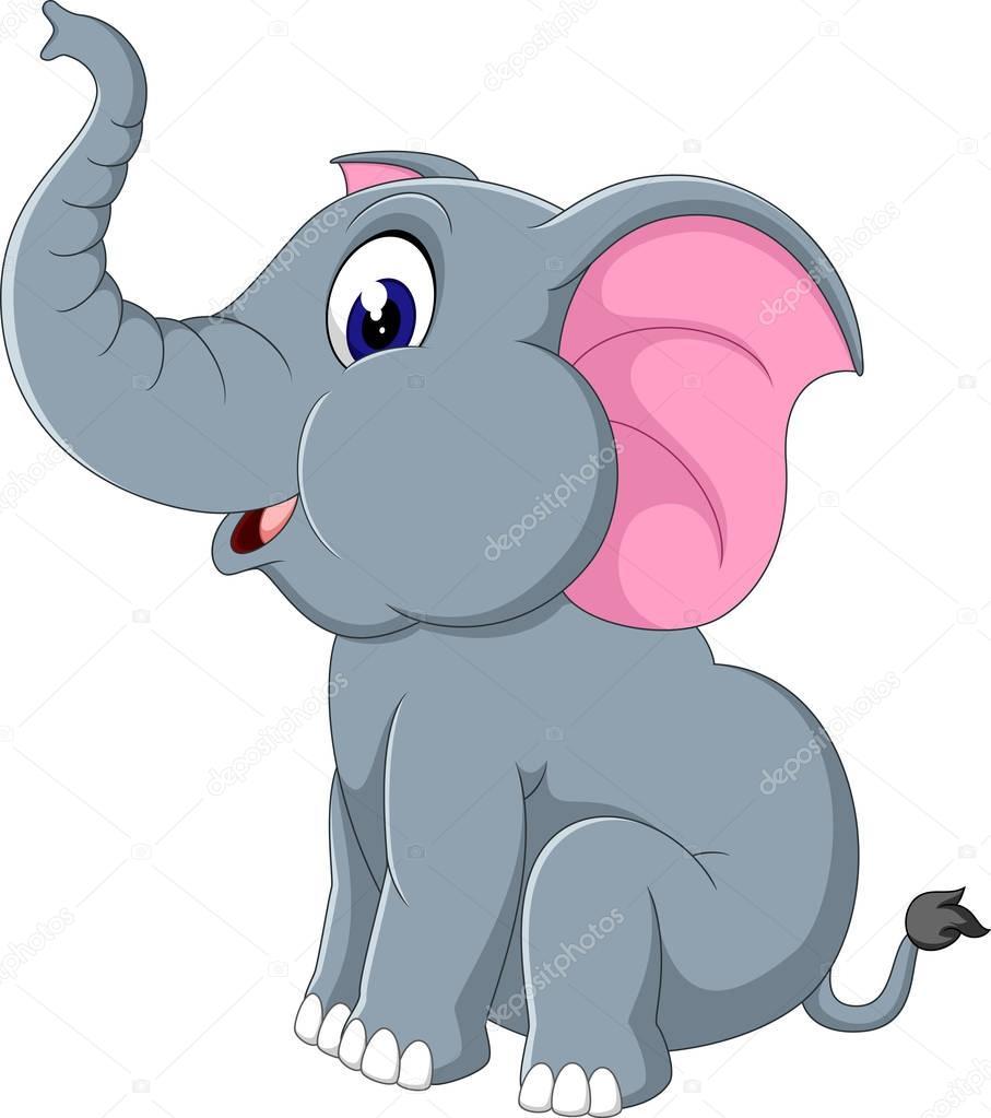 Illustrazione di cartone animato carino elefante u2014 vettoriali stock