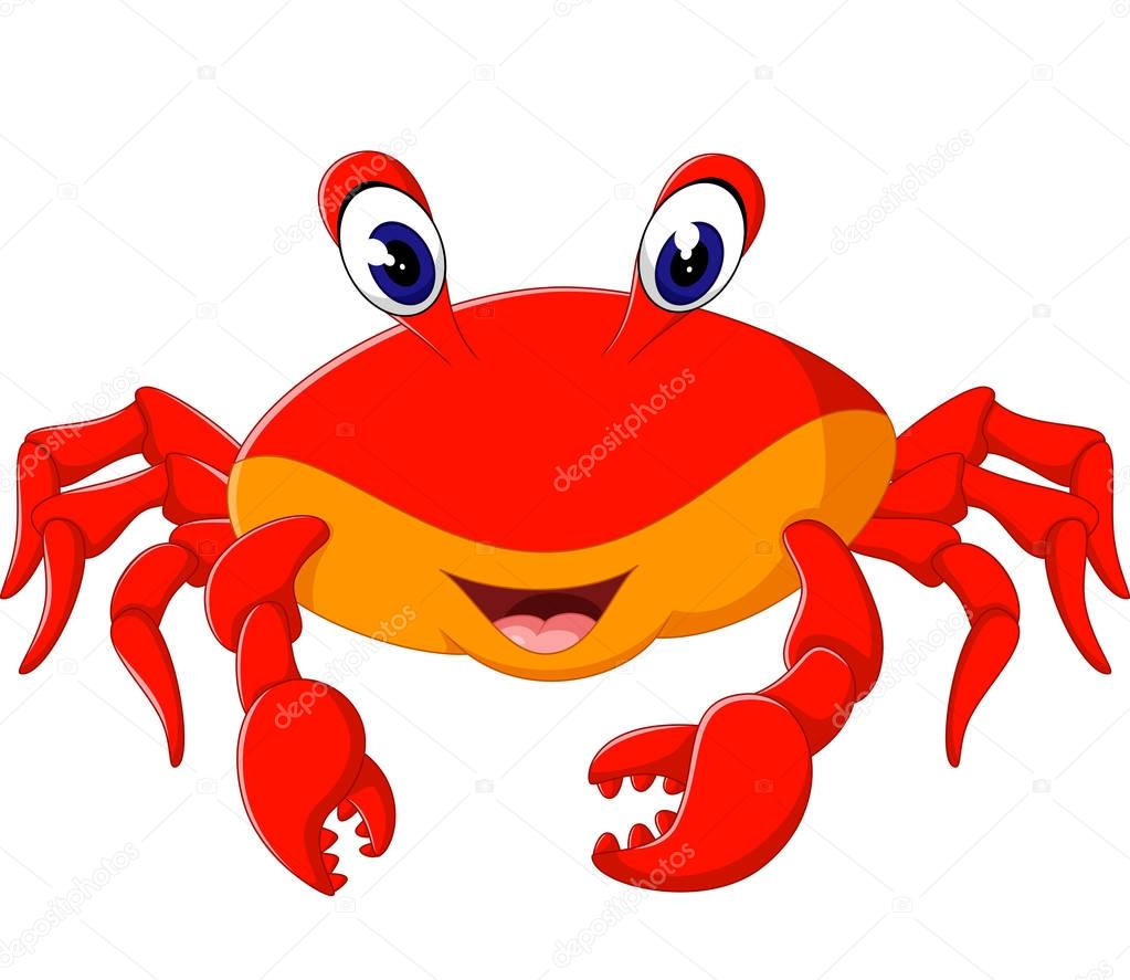 Ilustración de dibujos animados lindo cangrejo — Vector de stock ...