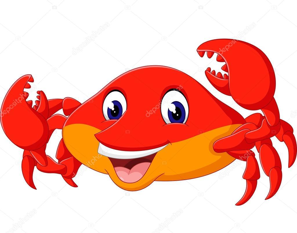 Ilustración de dibujos animados lindo cangrejo — Archivo Imágenes ...