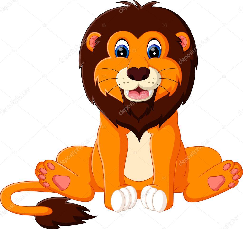 かわいい赤ちゃんライオン漫画のイラスト ストックベクター