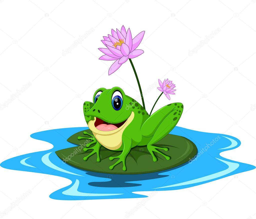 Dessin anim dr le de grenouille verte assis sur une feuille image vectorielle - Dessin de grenouille verte ...