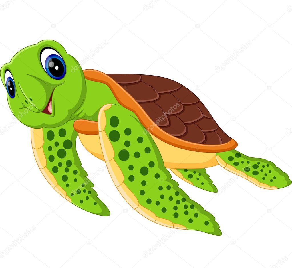 Ilustración de dibujos animados Linda tortuga — Vector de stock ...