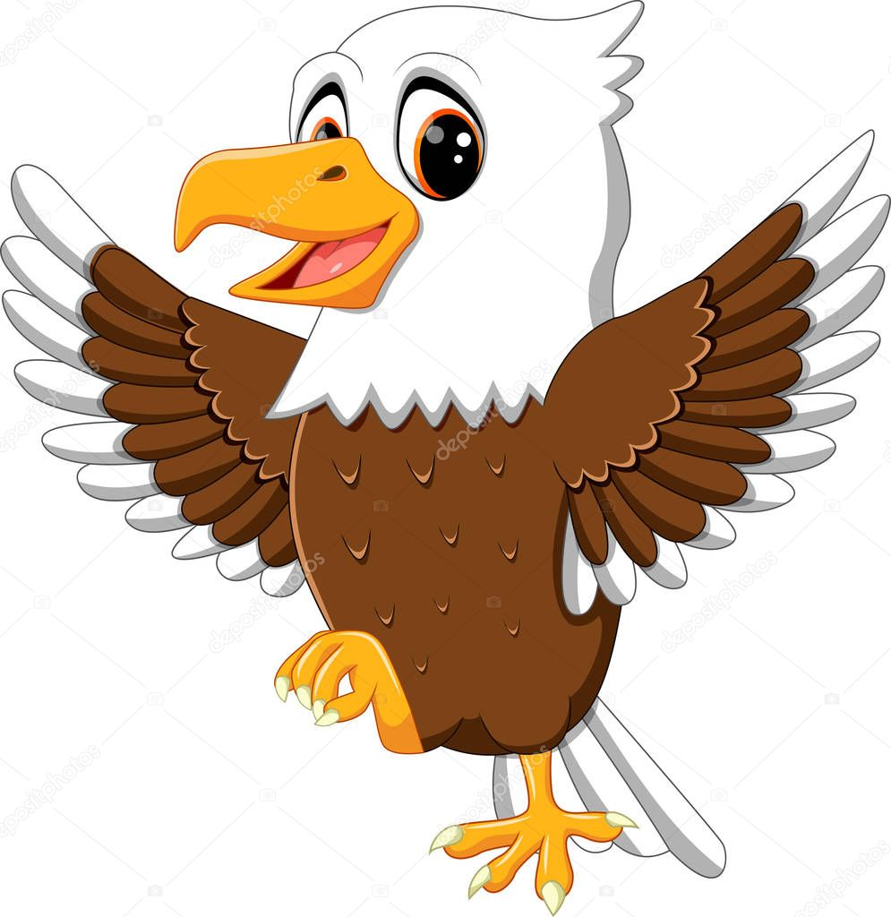 illustration of cute eagle cartoon stock vector hermandesign2015 rh depositphotos com baby eagle cartoon images cartoon bald eagle images