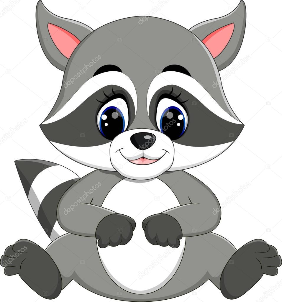 Bebé de dibujos animados mapache — vector stock