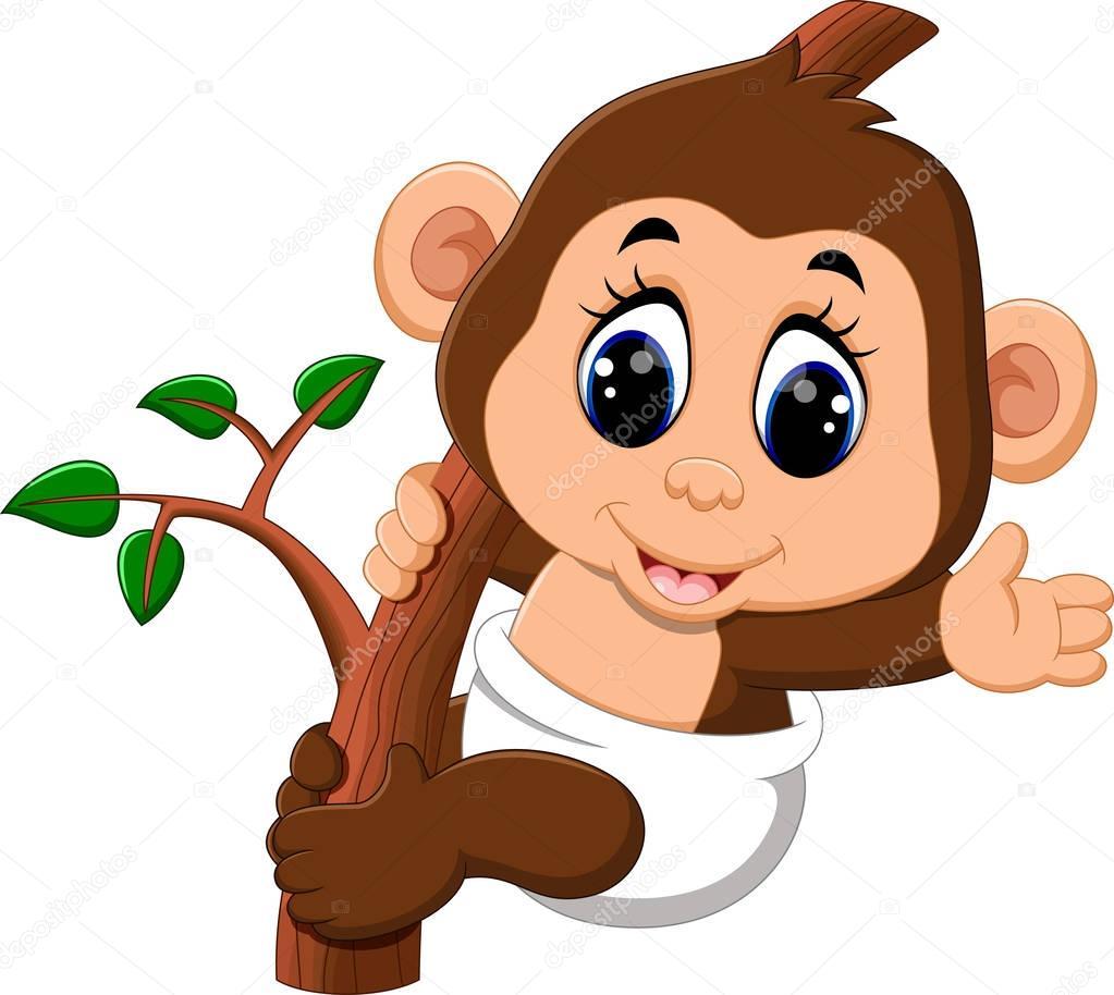 Illustrazione di scimmia simpatico cartone animato