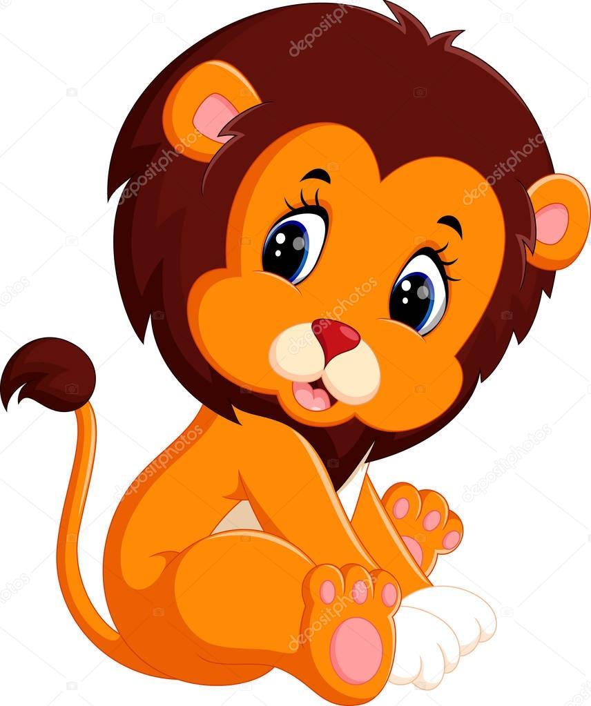 Illustration De Dessin Animé De Lion Bébé Mignon Image Vectorielle