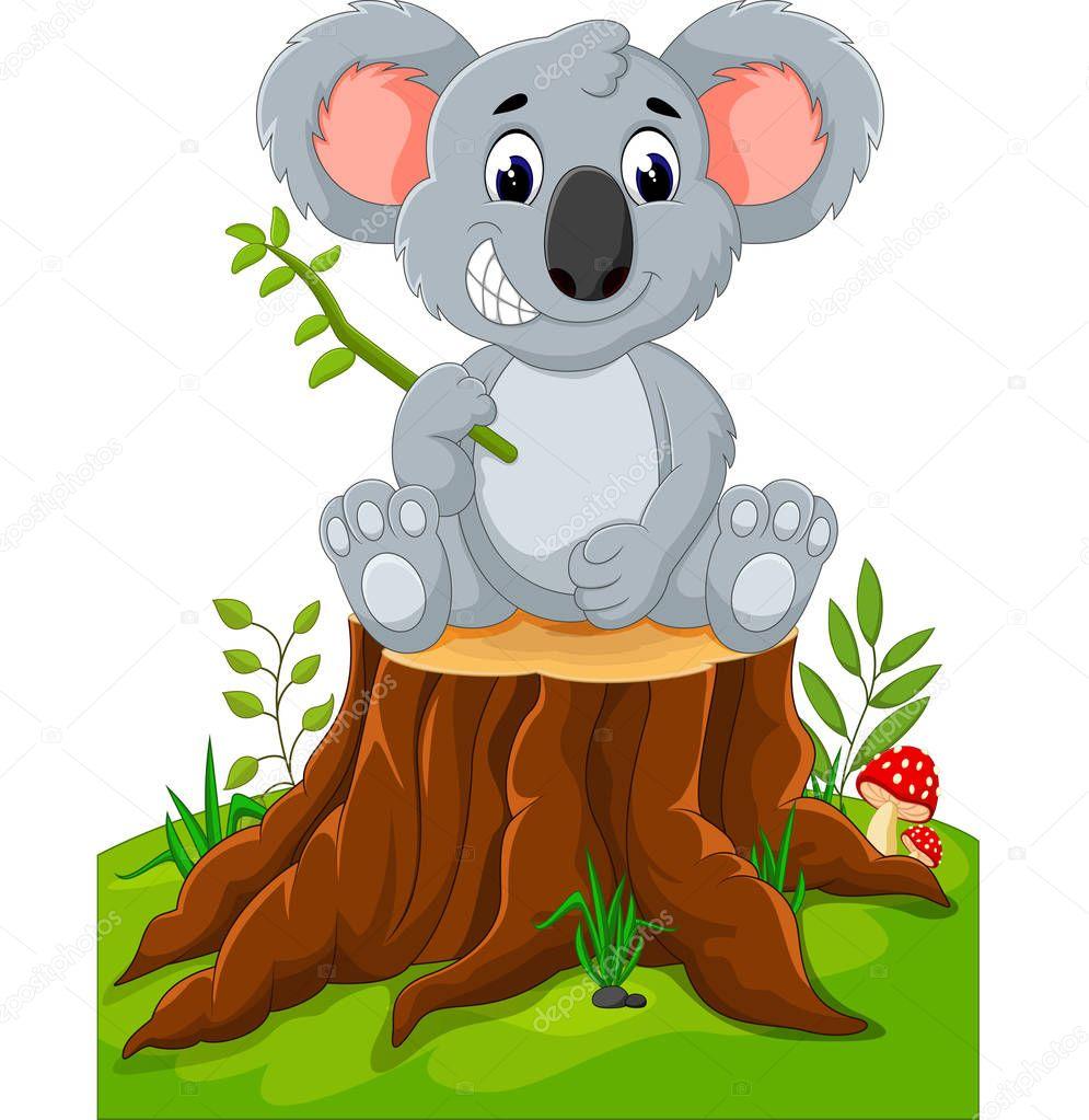 Cartoon Koala Presenting On Tree Stump Stock Vector C Hermandesign2015 Gmail Com 130173320 1920x1080 how to draw cartoon animals how. depositphotos