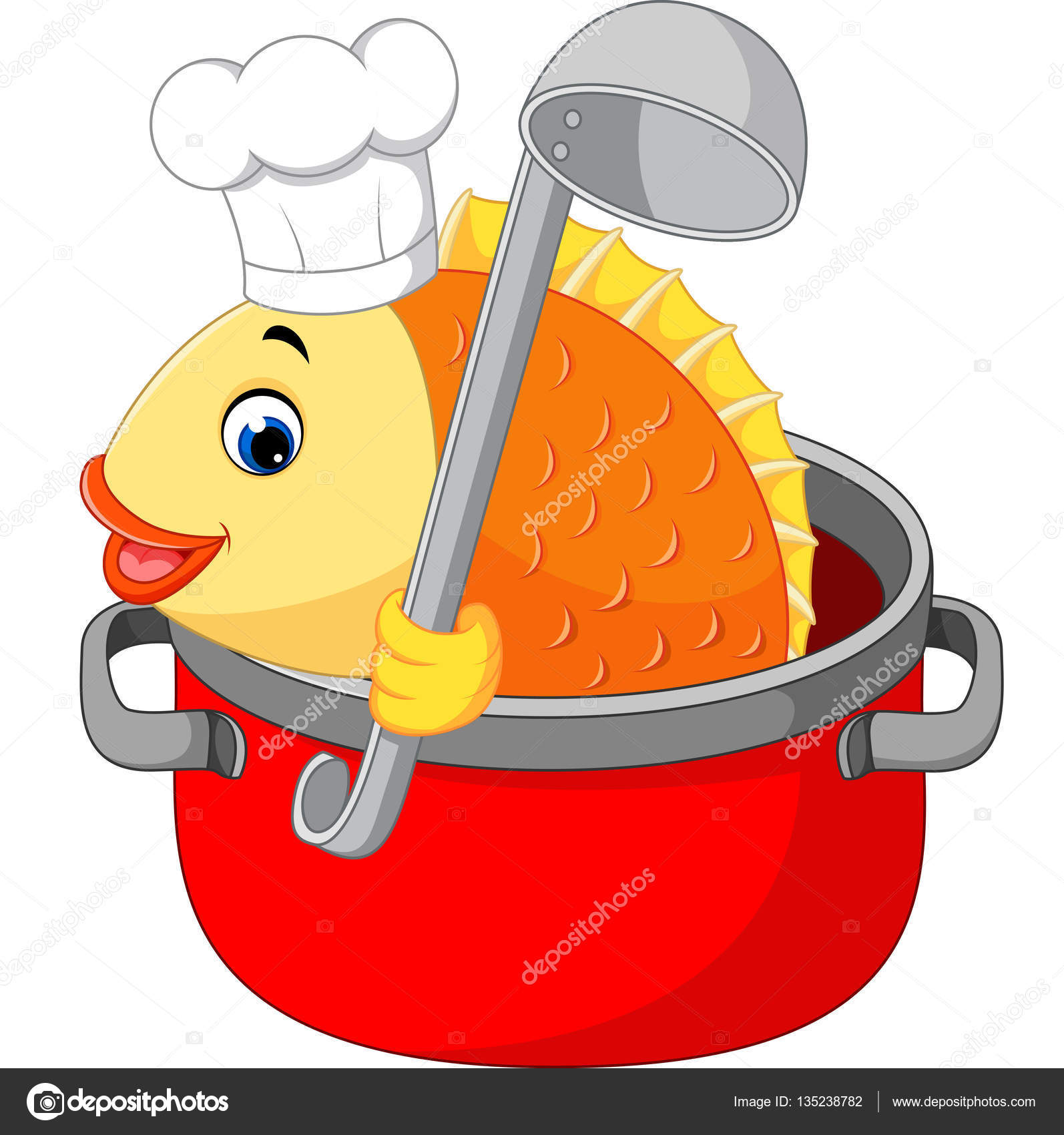 cartoon funny fish being cooked in a pan u2014 stock vector