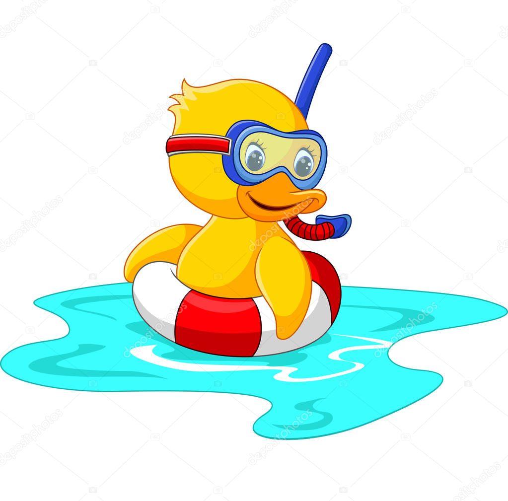 Ente-Taucher mit Schwimmen Gürtel sitzen — Stockvektor ...