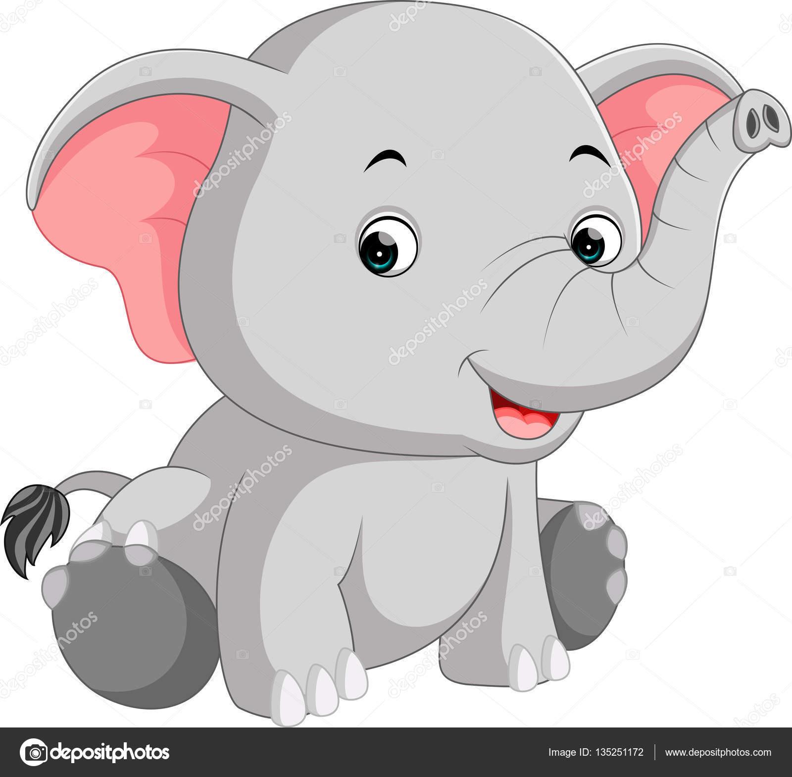 Cartone animato carino elefante — vettoriali stock