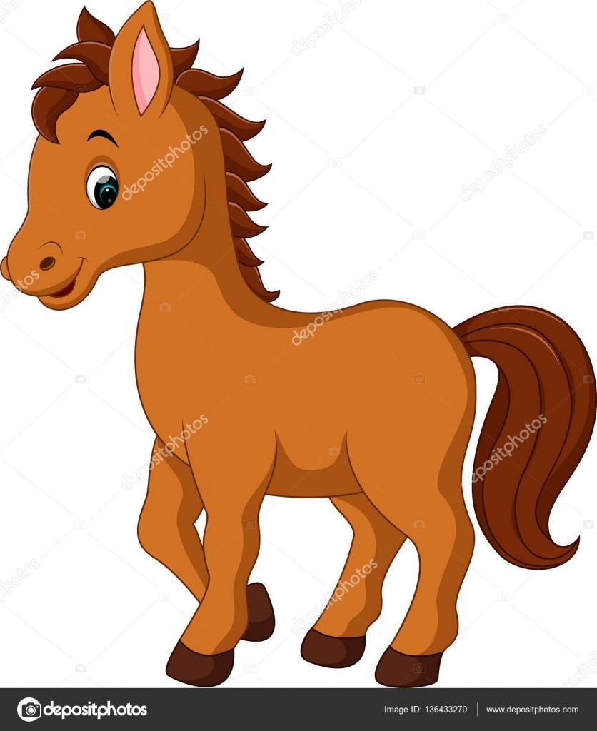 Caricatura lindo caballo — Vector de stock