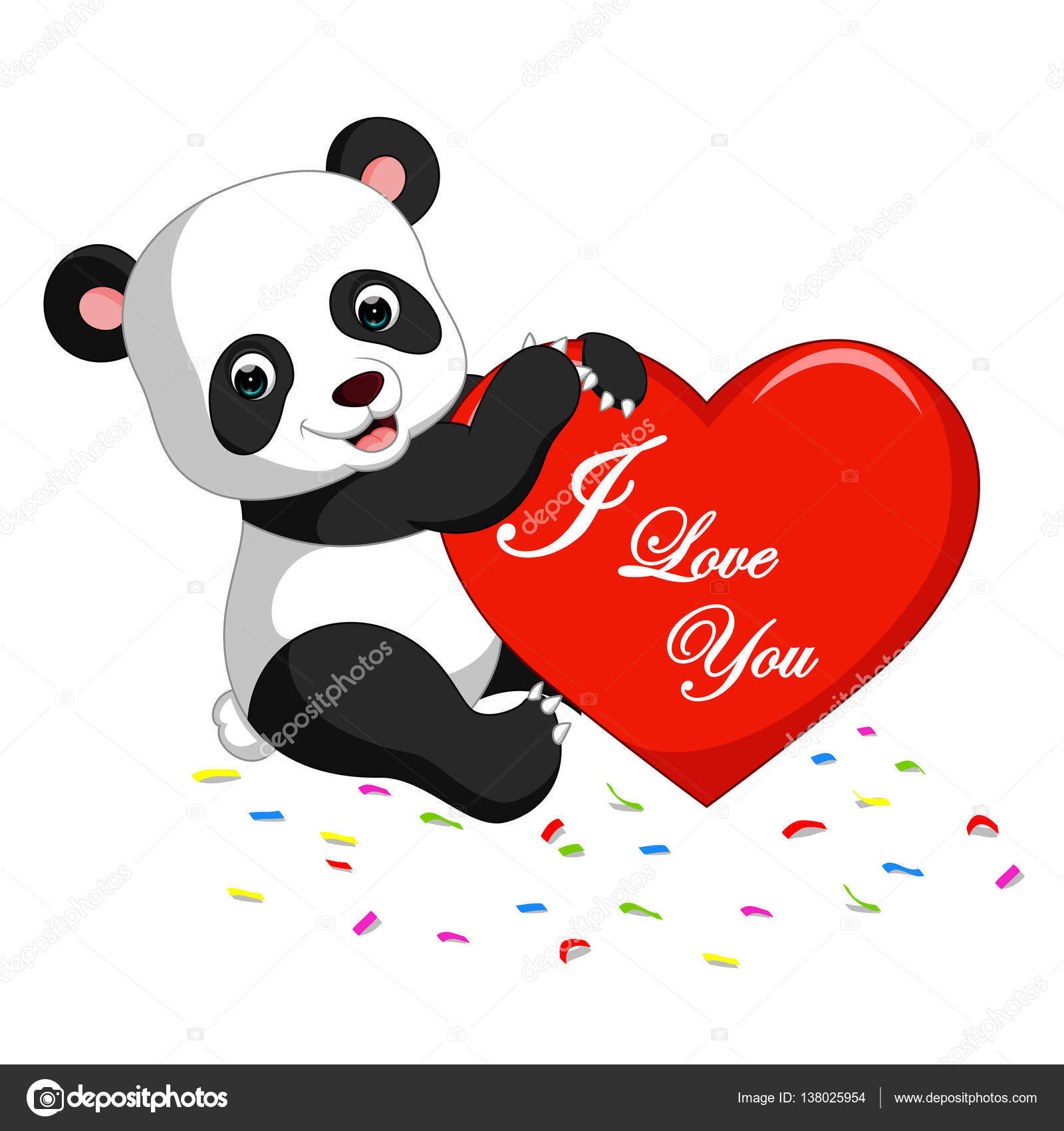 Panda Cartoon With Love Stock Vector C Hermandesign2015 Gmail