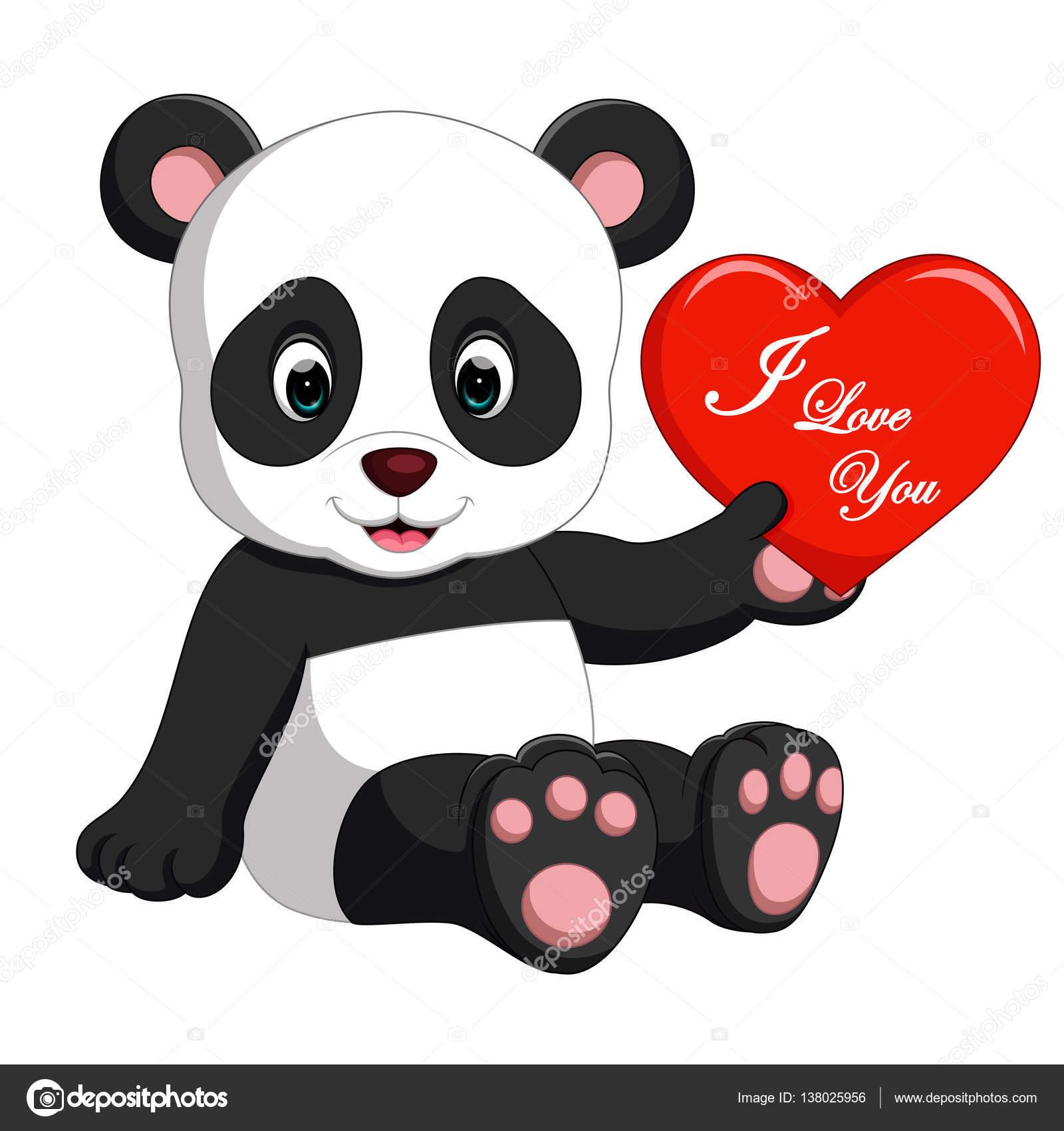 Love Panda Cartoon Panda Cartoon With Love Stock Vector