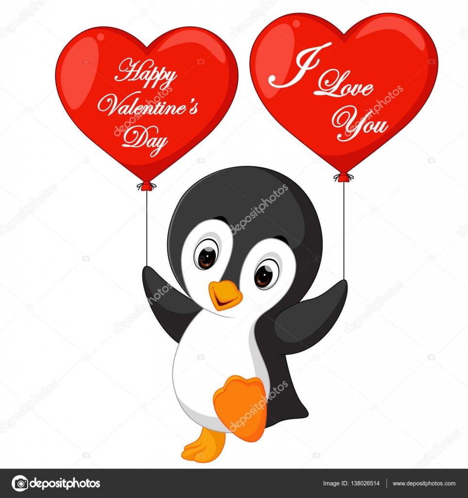 Valentine Penguin Cartoon U2014 Stock Vector #138026514