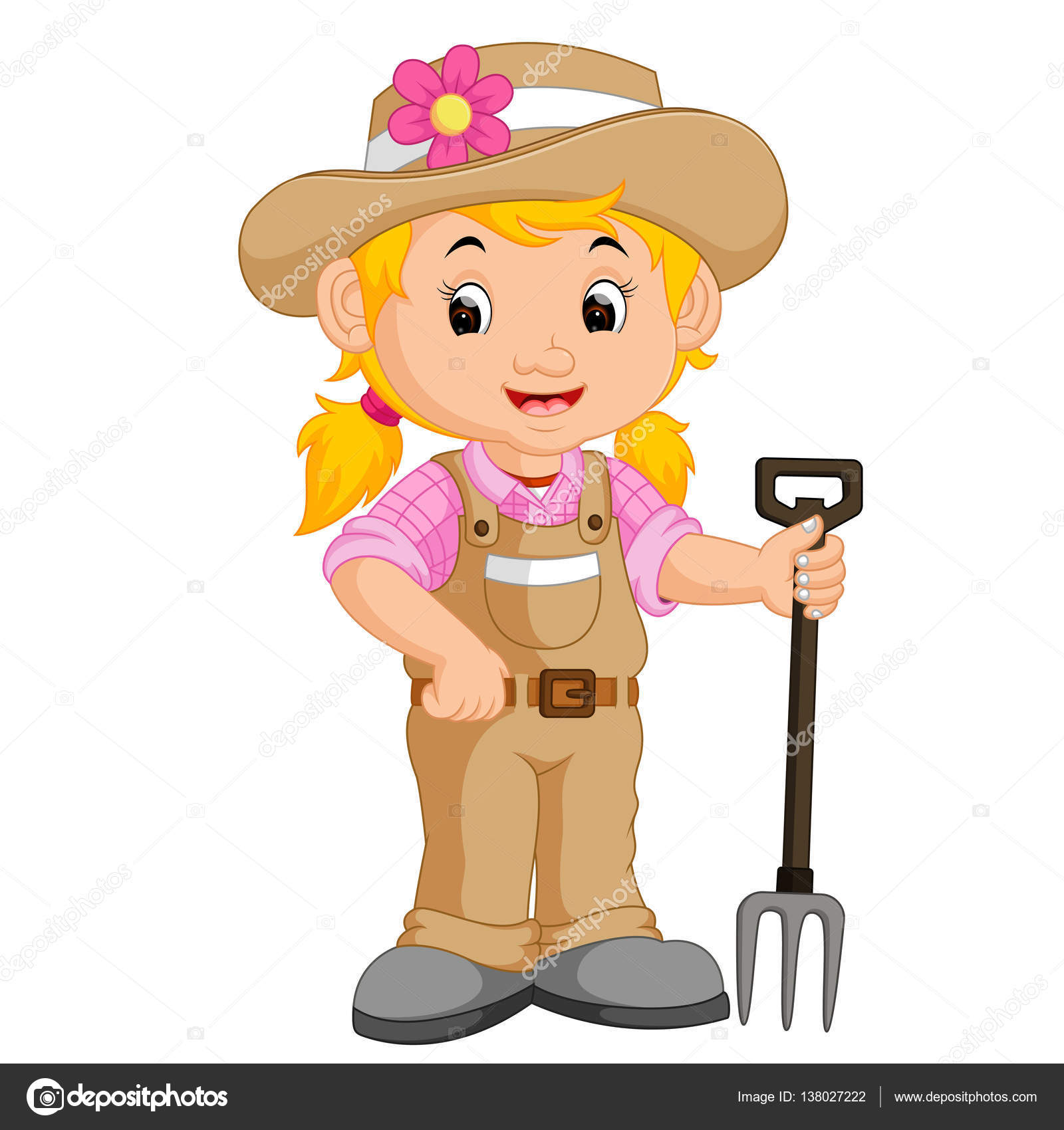 girl farmer cartoon — Stock Vector © hermandesign2015 ...