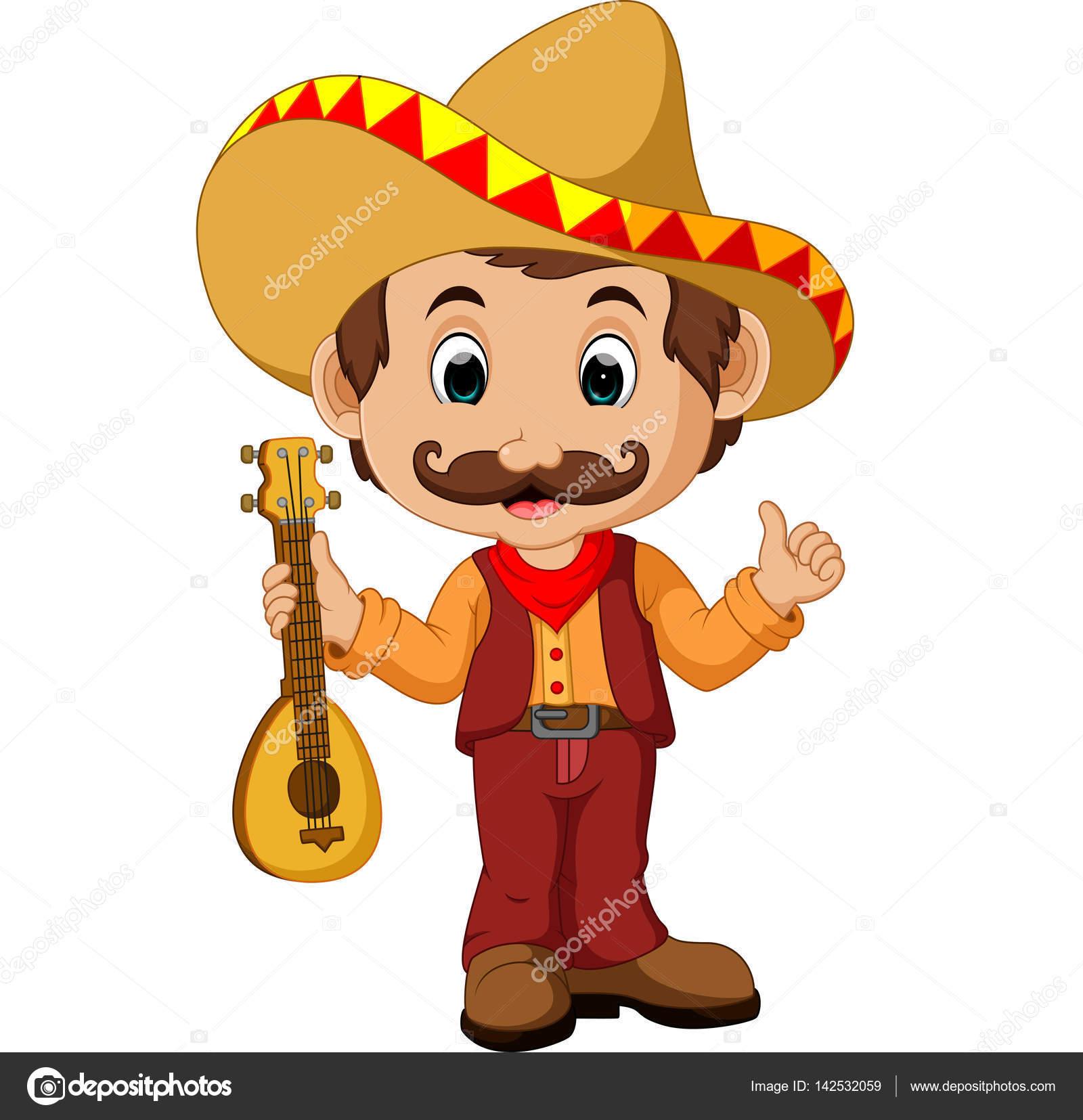 Mexikanische cartoon figur mit gitarre — stockvektor