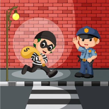 thief and police cartoon