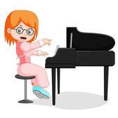 Nettes kleines Mädchen Cartoon spielen Klavier