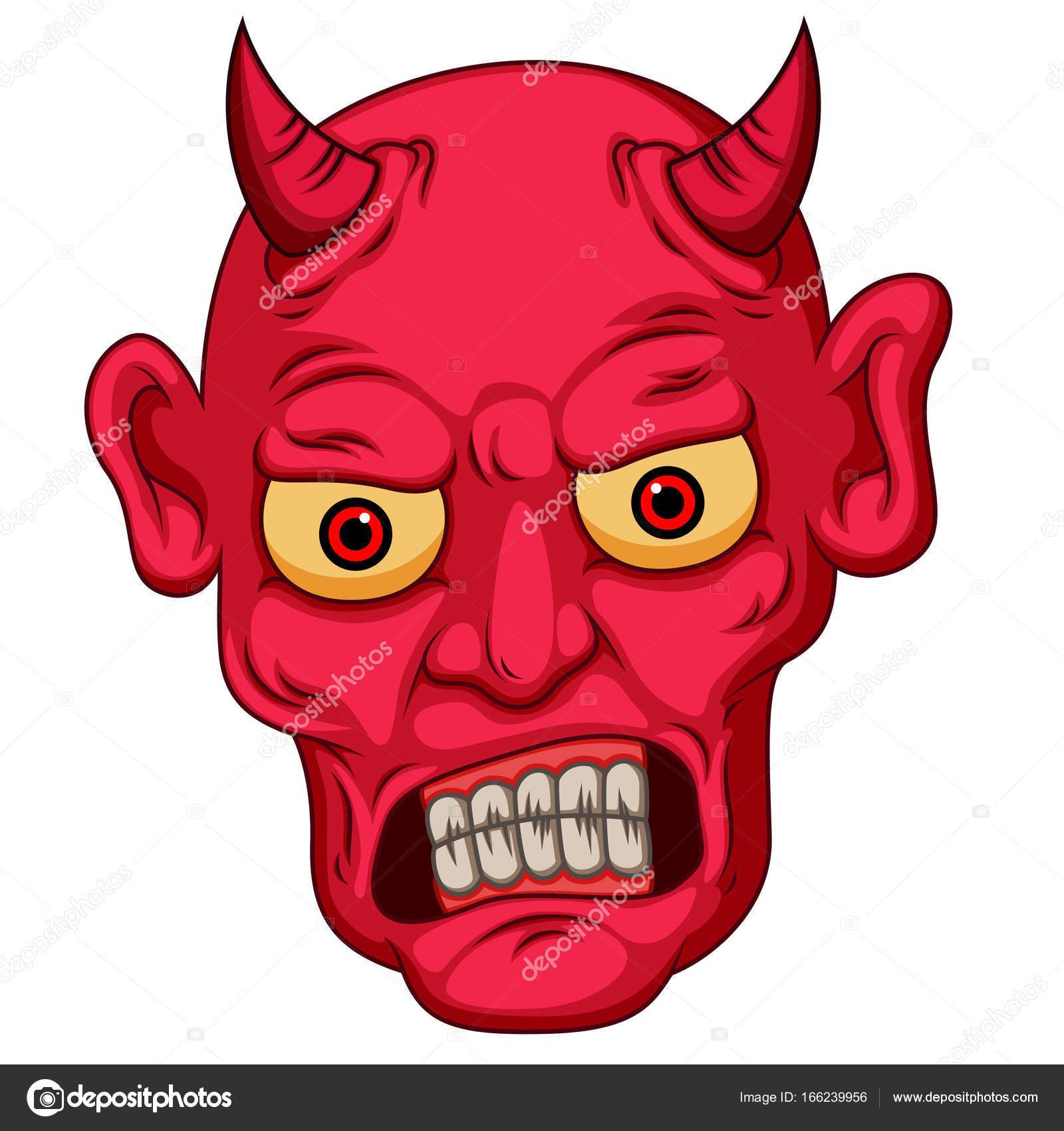Devil Face Line Drawing : Cara de diabo vermelho dos desenhos animados estilo
