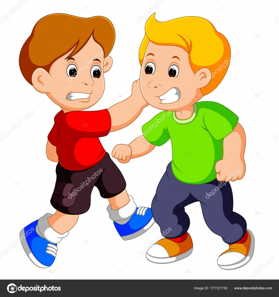 Two Young Boys Fighting Stock Vector