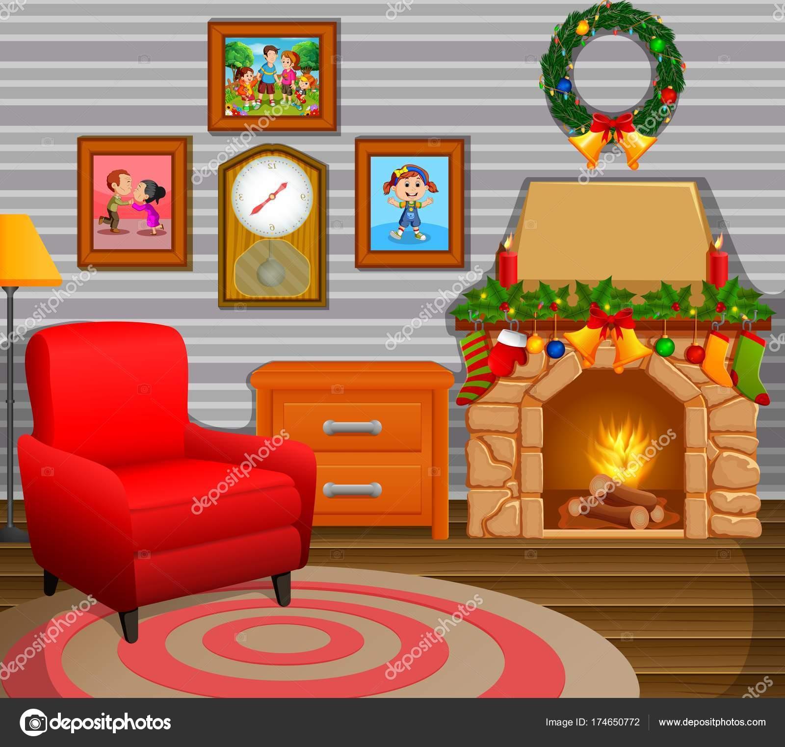 Christmas Living Room Tree Fireplace Stock Vector