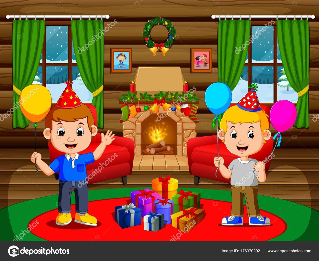 Cute Kids Living Room Christmas Stock Vector C Hermandesign2015