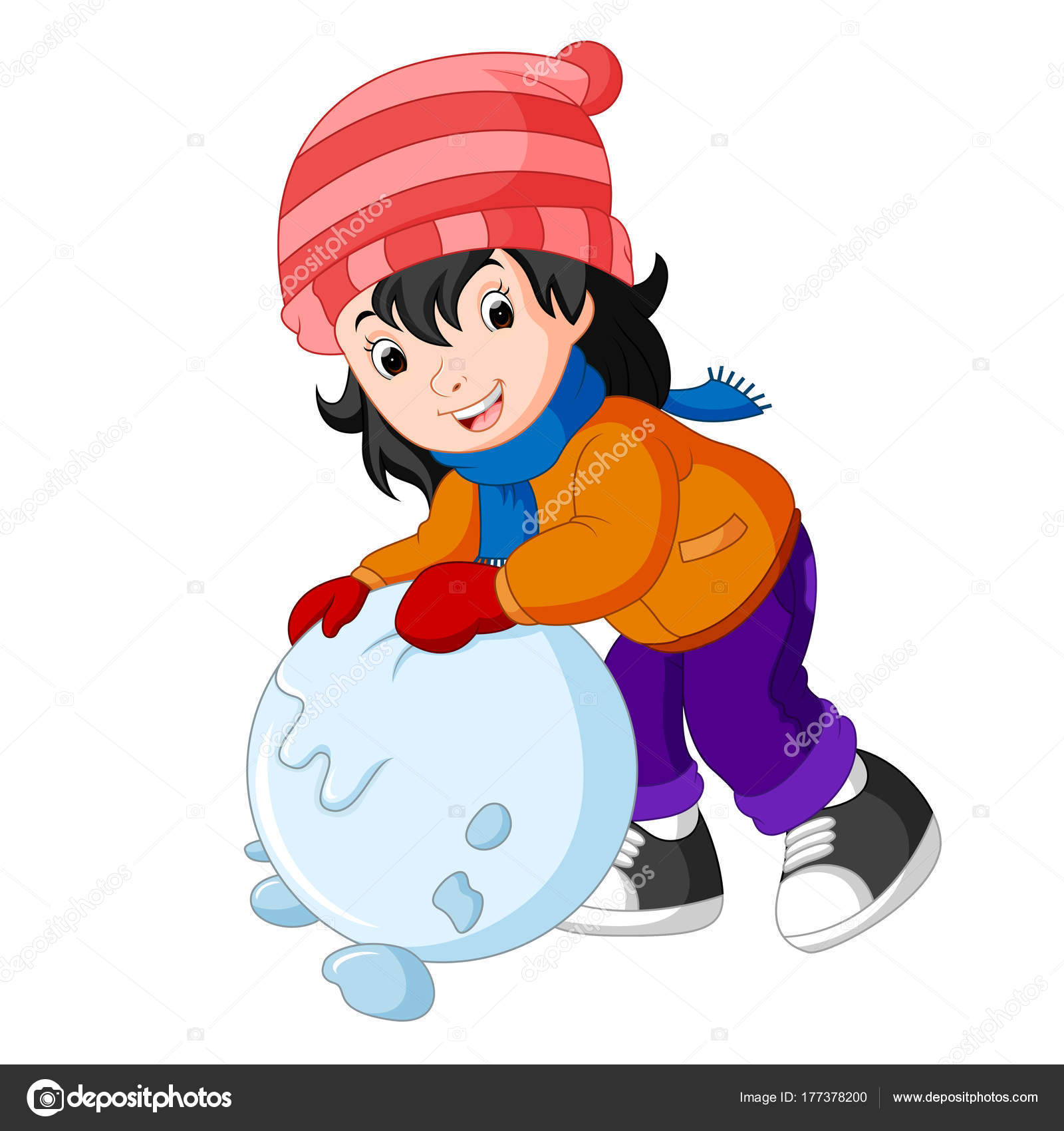 Ninos Dibujos Animados Jugando Con Nieve Vector De Stock