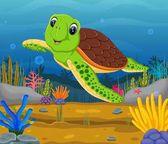 Cute cartoon turtle underwater