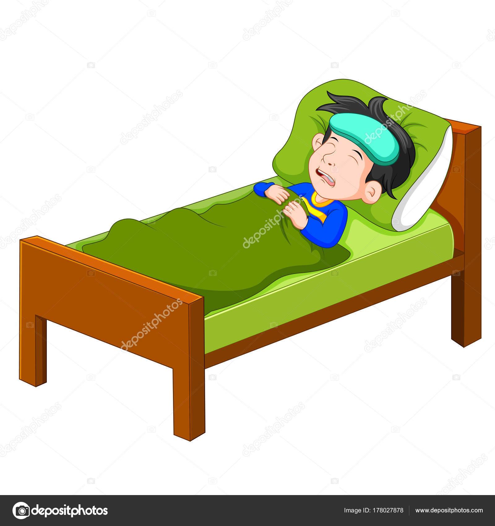 Sick Kid Lying Bed Stock Vector C Hermandesign2015 Gmail Com