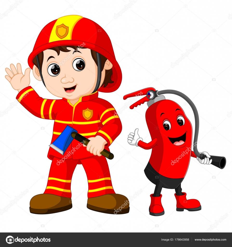 Salvataggio del pompiere uomo tiene ascia ferro cartone