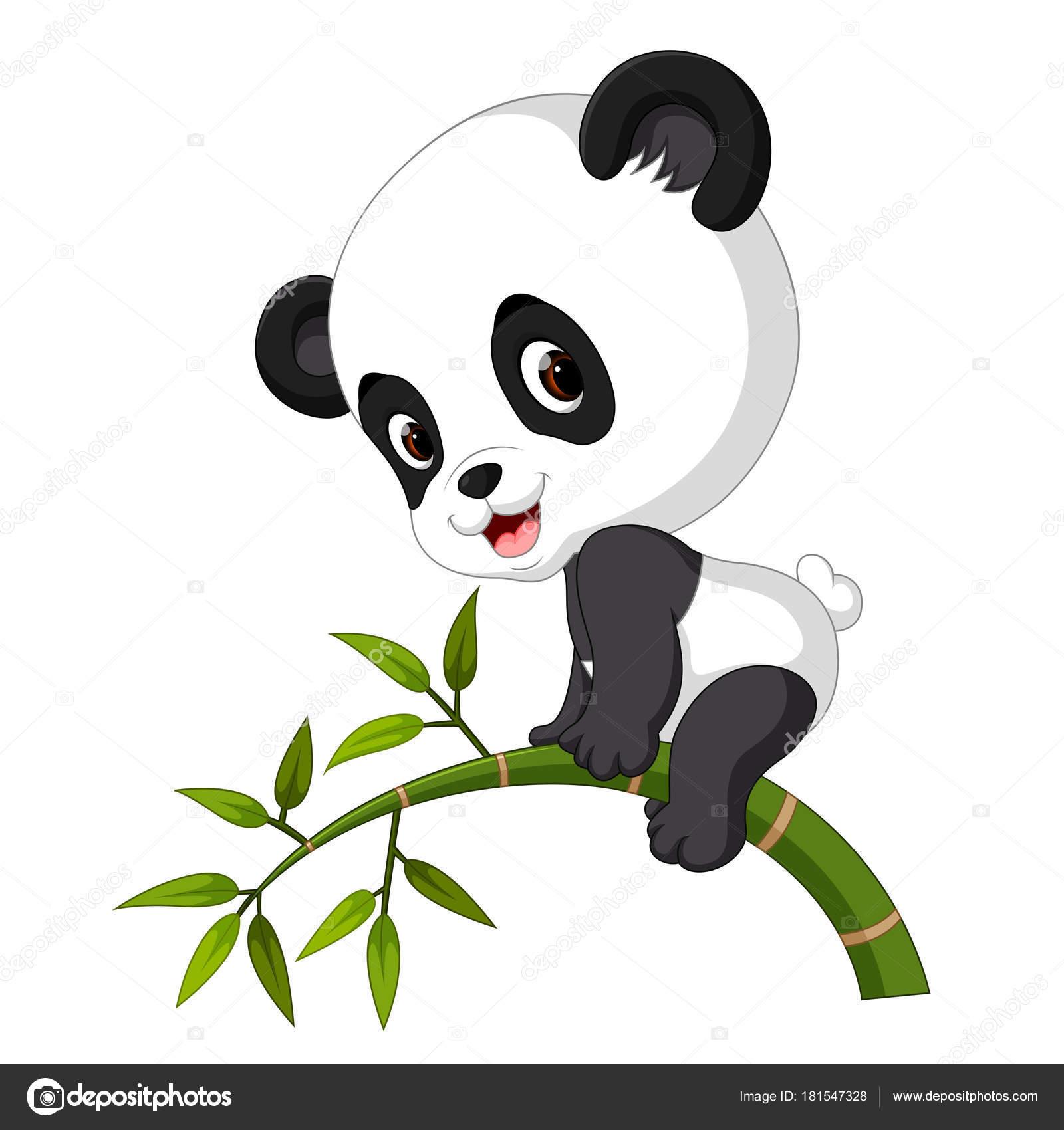 Cute Funny Baby Panda Hanging Bamboo Stock Vector C Hermandesign2015 Gmail Com 181547328