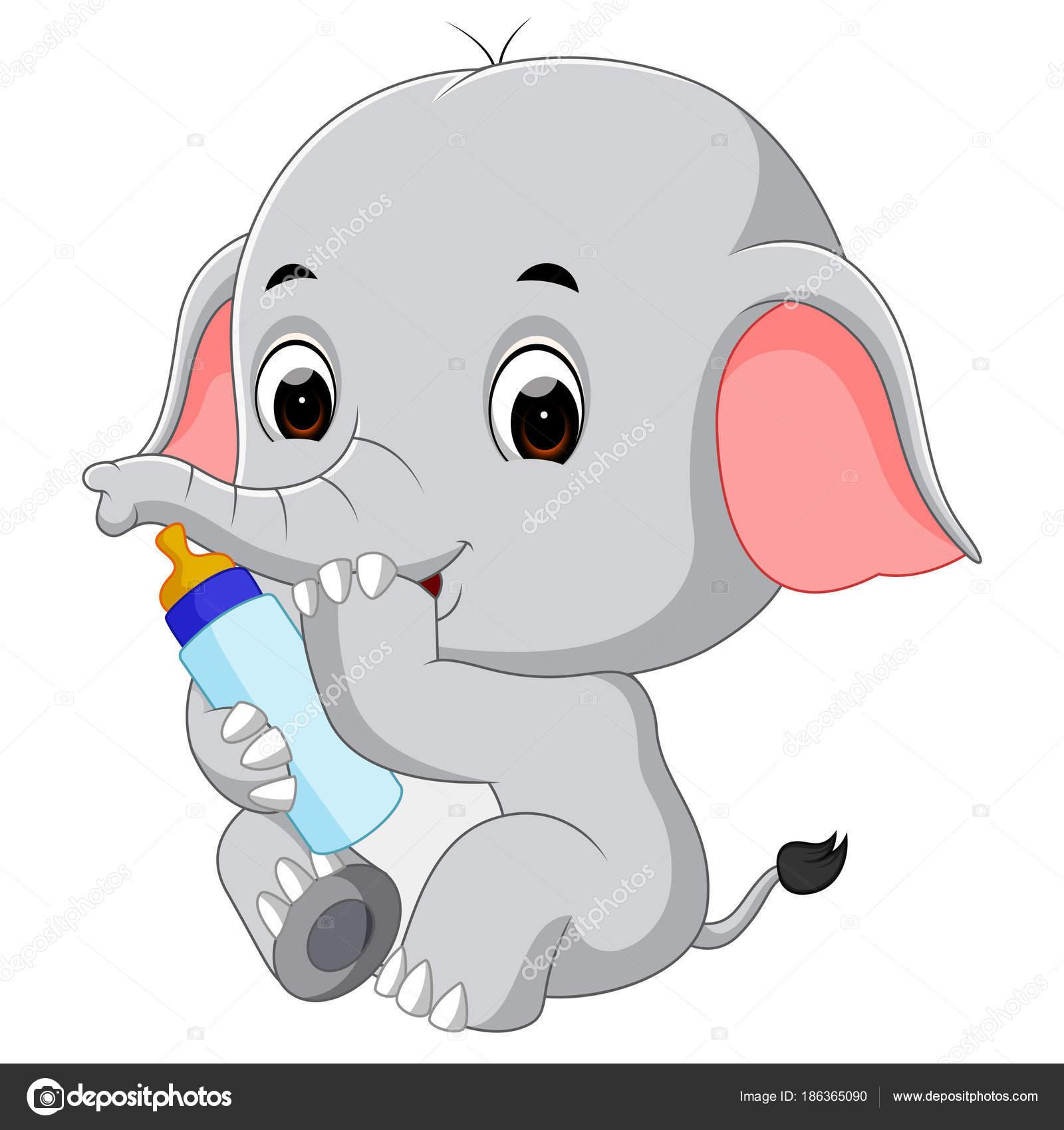 Bebe con mamadera dibujo elefante beb con mamadera - Fotos de elefantes bebes ...