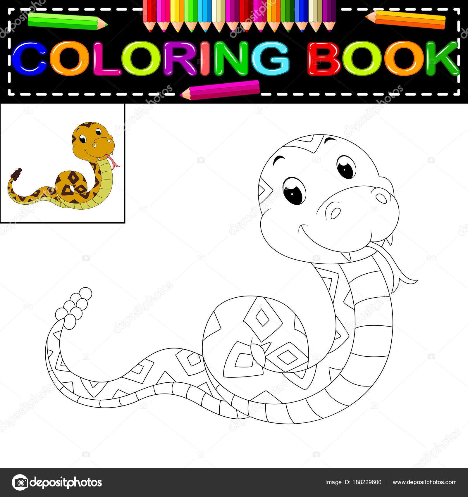 Libro Linda Serpiente Para Colorear — Vector de stock ...
