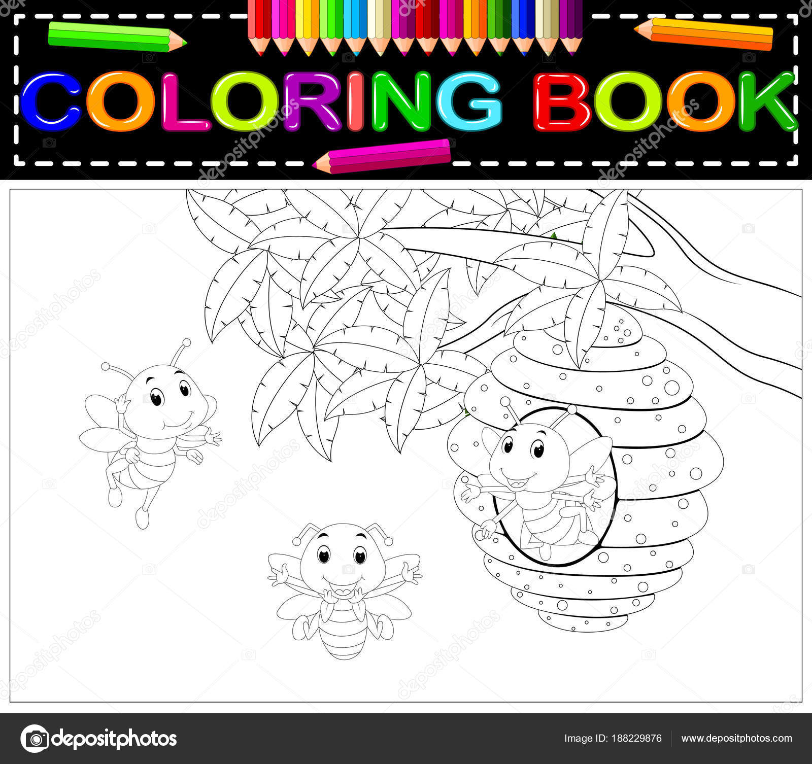 Libro Para Colorear Abeja Lindo — Vector de stock © hermandesign2015 ...