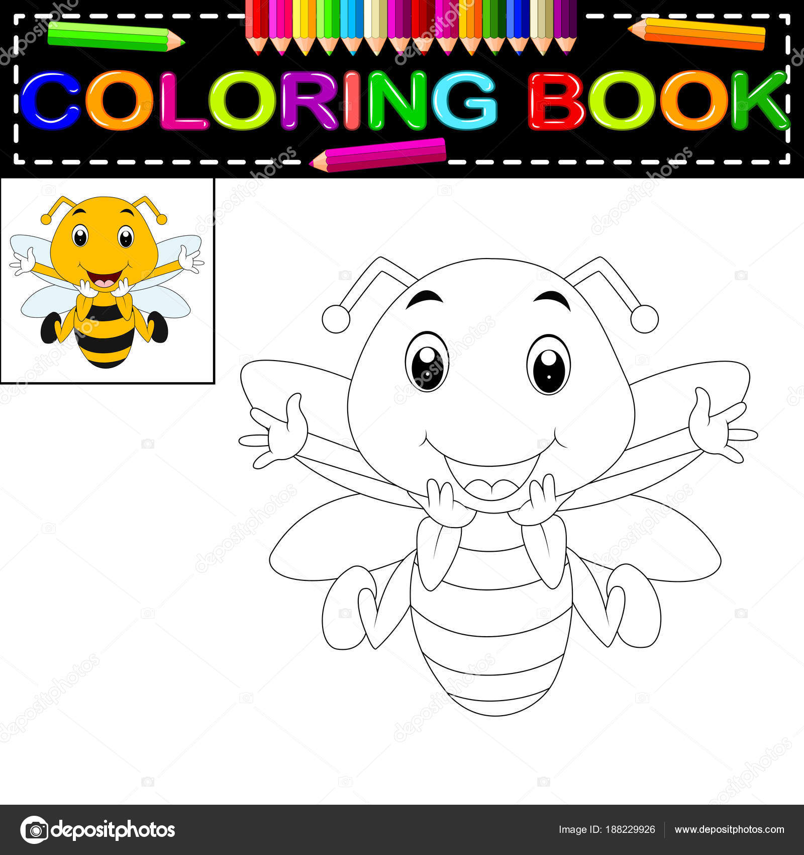 Libro Para Colorear Abeja Lindo — Vector de stock © hermandesign2015 ...