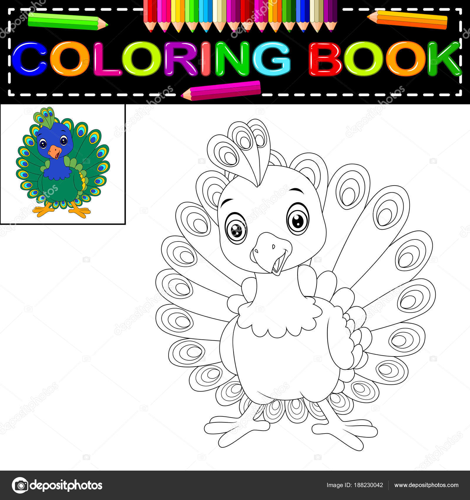Libro Colorear Lindo Pavo Real — Vector de stock © hermandesign2015 ...