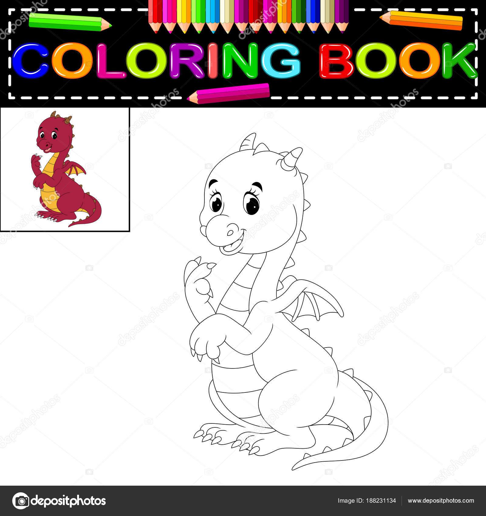 Libro Para Colorear Dragón Lindo — Vector de stock ...