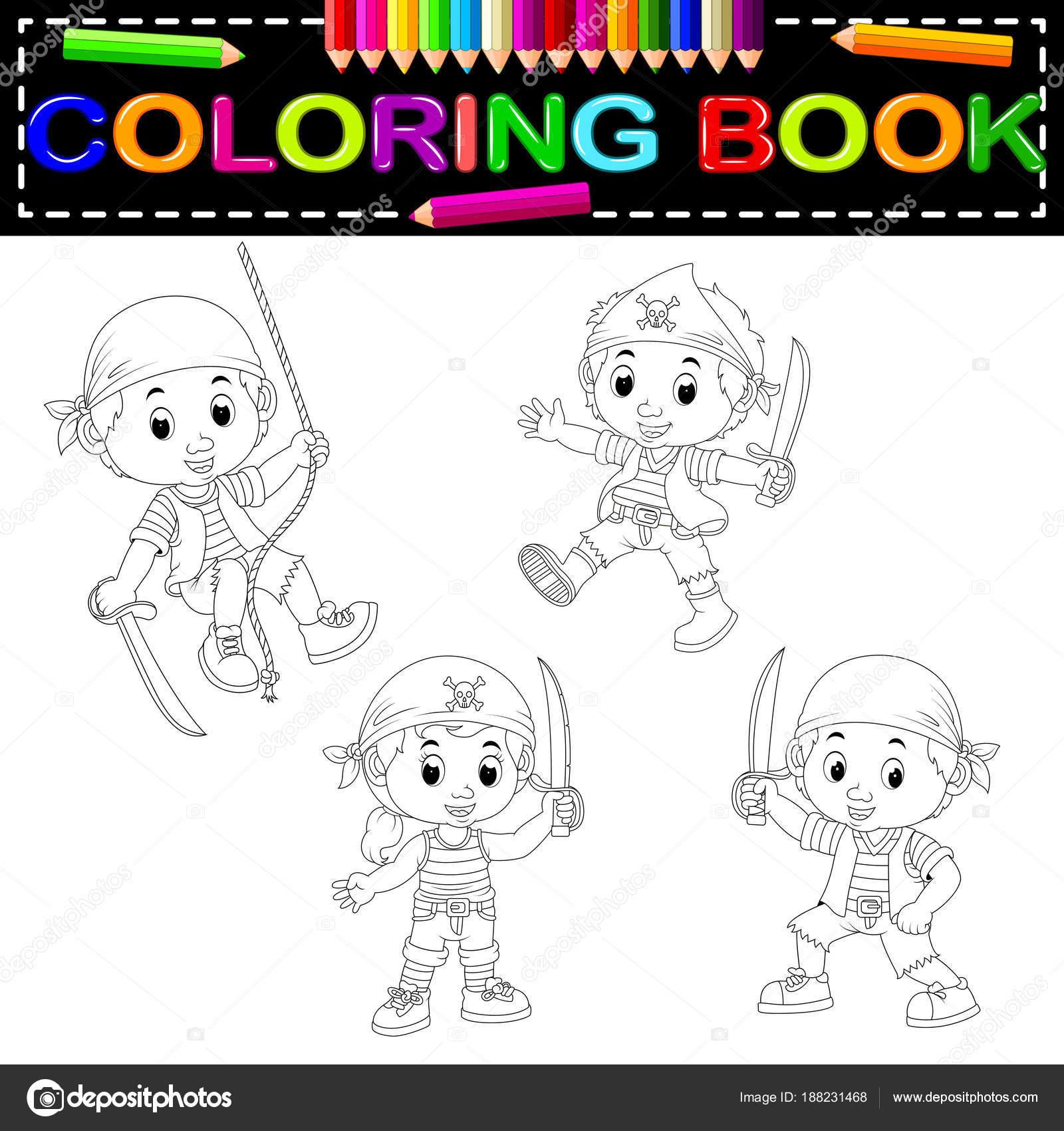 Cute Pirate Coloring Book — Stock Vector © hermandesign2015@gmail ...