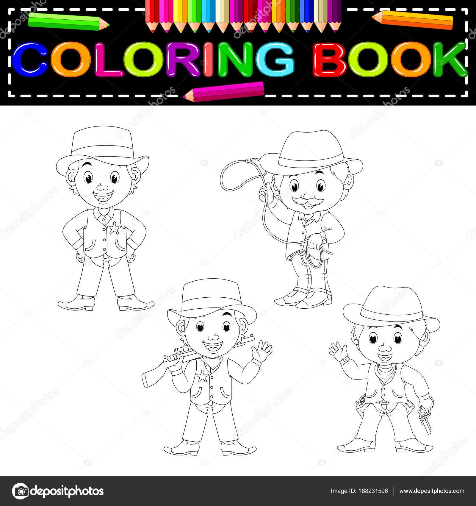 Lindos Vaqueros Para Colorear Libro — Vector de stock ...