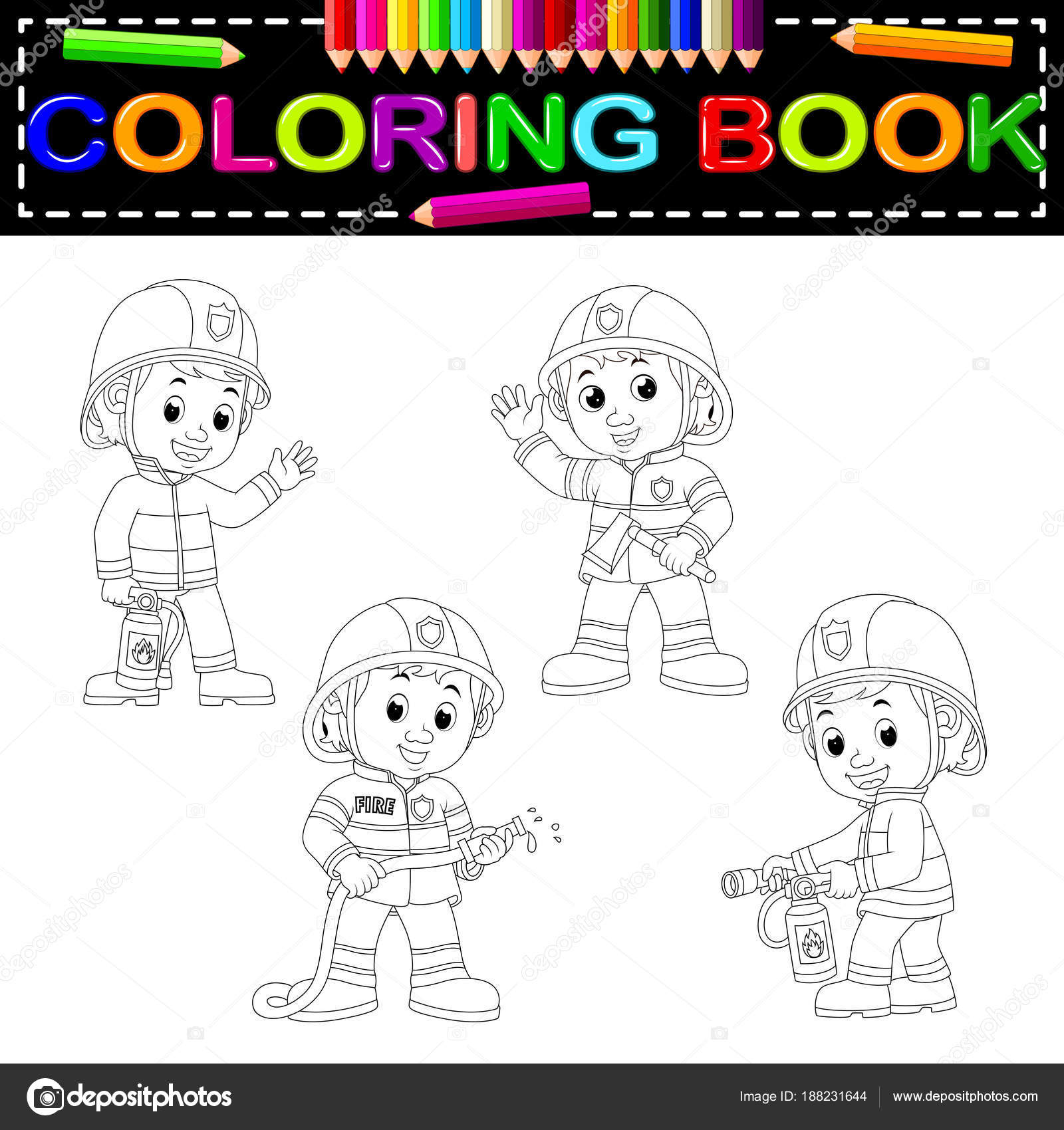 Cute Firefighter Coloring Book — Stock Vector © hermandesign2015 ...