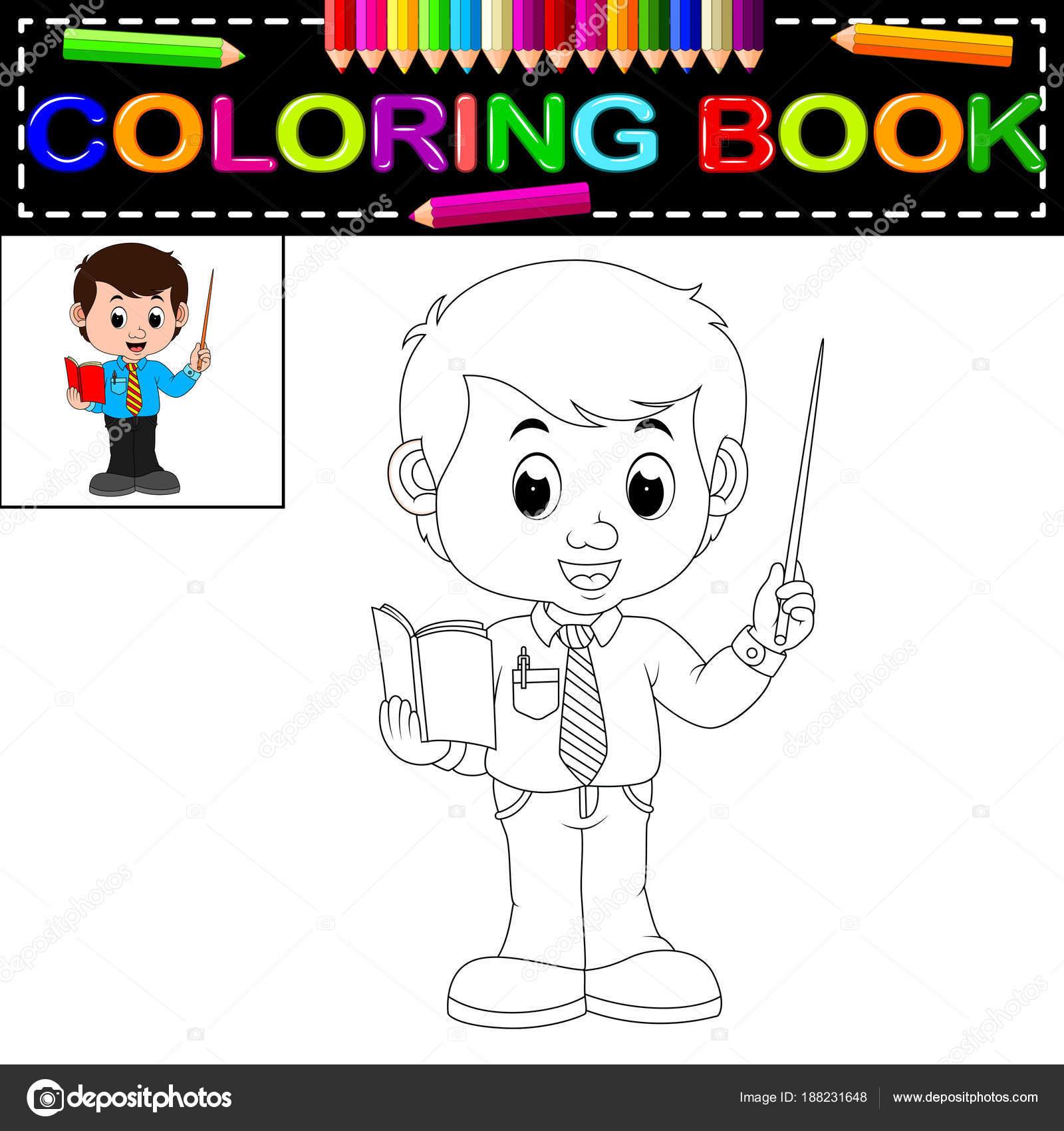 Libro Profesor Para Colorear — Archivo Imágenes Vectoriales ...