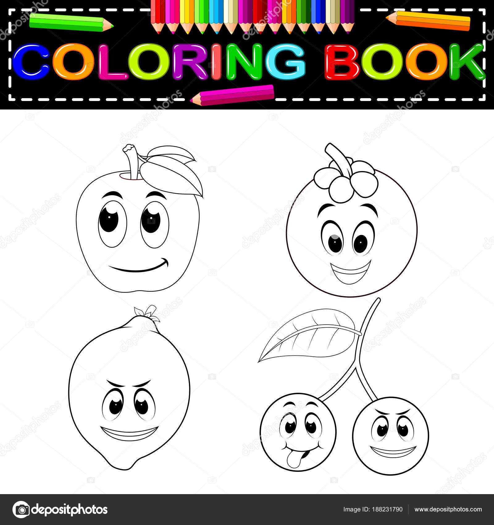 Fruta Fresca Con Cara Libro Para Colorear — Vector de stock ...