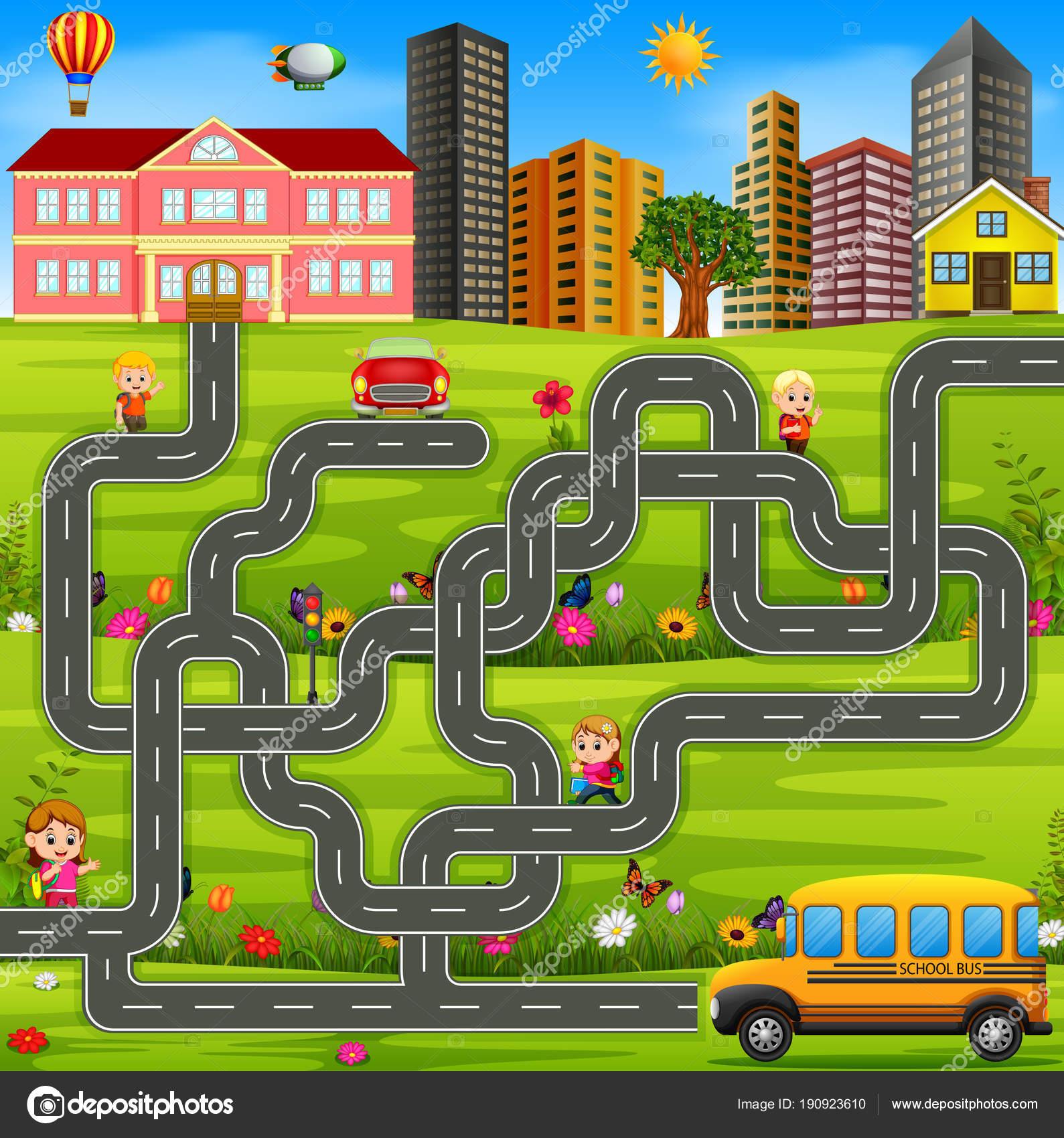 Maze Game Template School Bus
