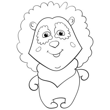 Baby animal lion. Cartoon vector illustration for children. Coloring page, Coloring book. Contour.