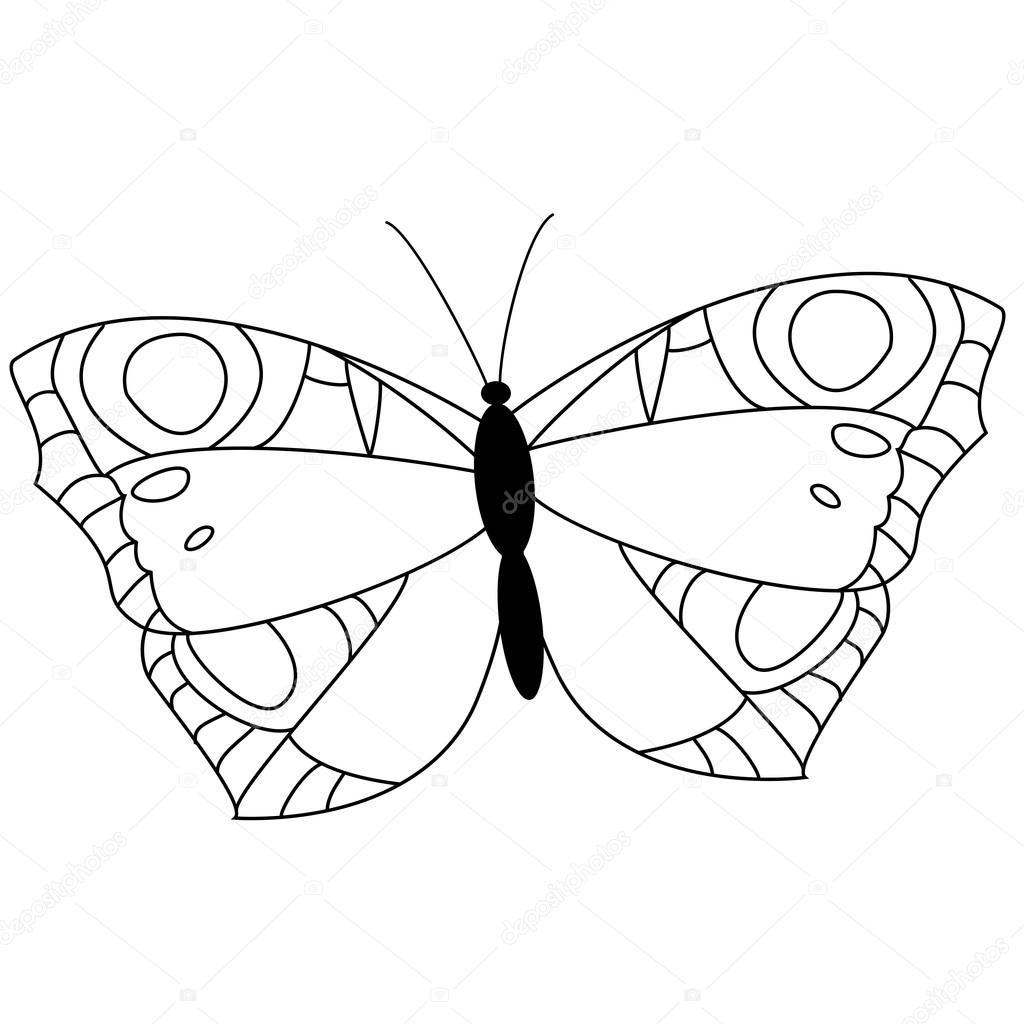 Kelebek Boyama Sayfası Stok Vektör Budolga 128493088