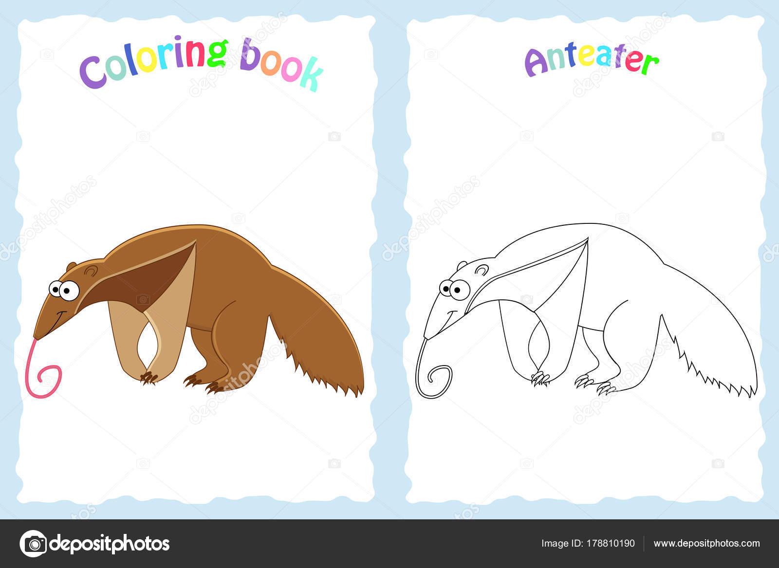 Buch-Malvorlagen für Kinder im Vorschulalter mit bunten Ameisenbär ...