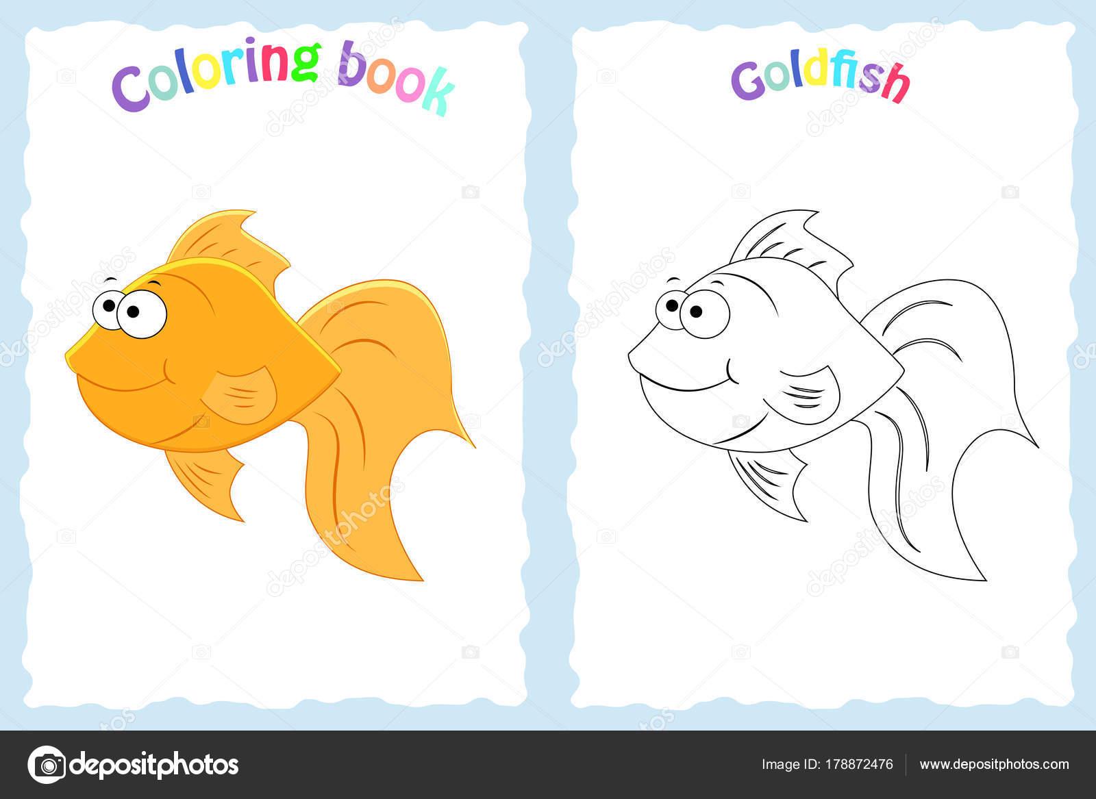 Buch-Malvorlagen für Kinder im Vorschulalter mit bunten Goldfisch ...
